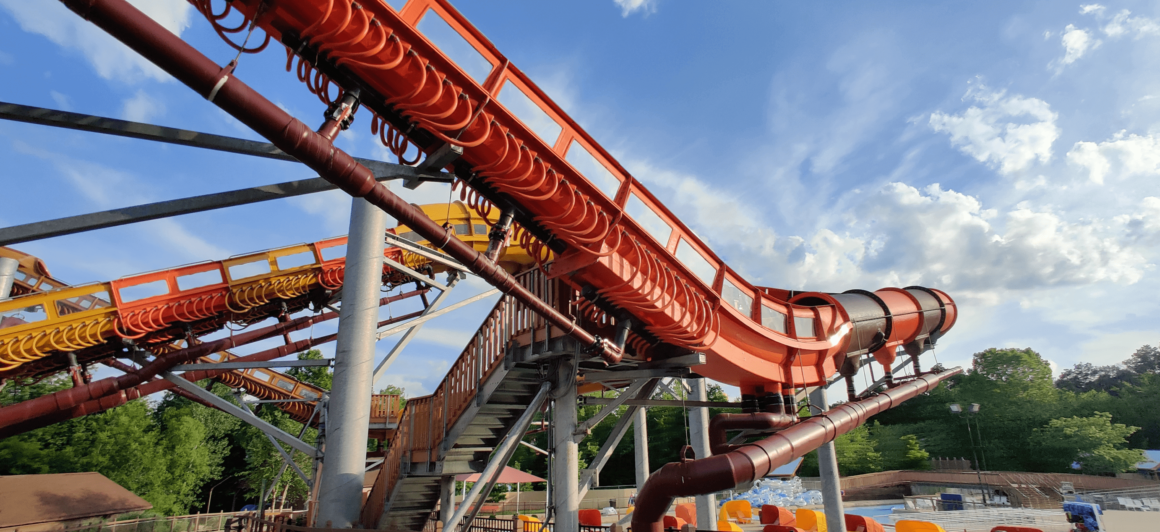 Showcasing the launch section of the Cheetah Chase watercoaster. This is the slide you should ride first because of its popularity.