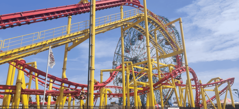 Picture shows some of the elements of the Phoenix roller coaster at Deno's Wonder Wheel.